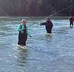 Cajun Invasion - wading in the Kenai River in Alaska after salmon