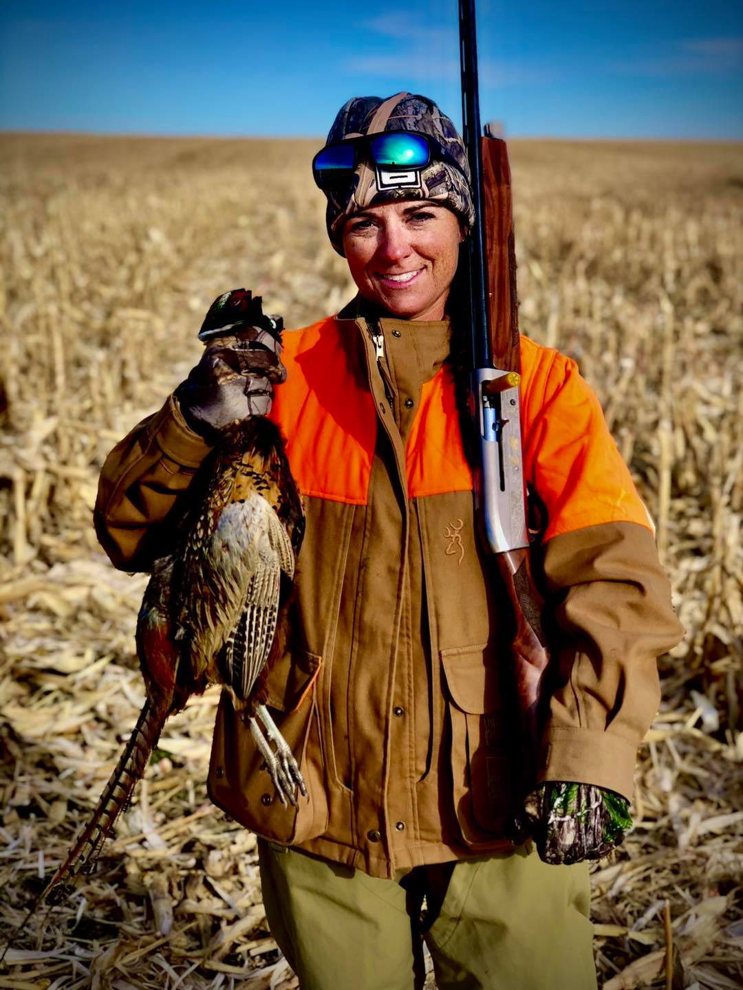 Martha Spencer with a male pheasant called a rooster